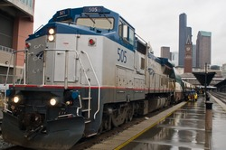 Amtrak passenger train loading in Seattle, Wa