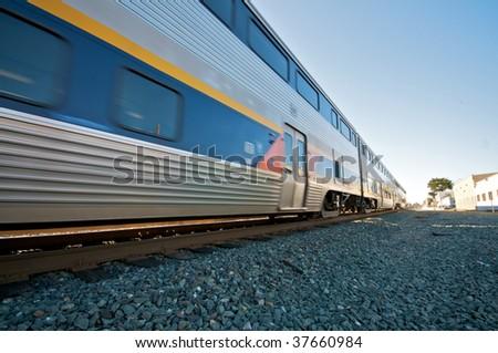 amtrak train blue sky in...