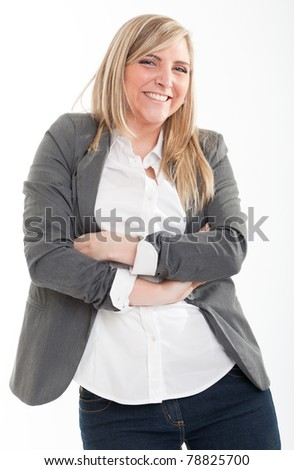 Amused cute young blond woman  in a casual vest