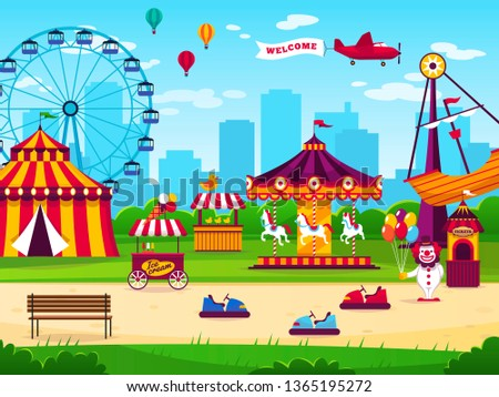 Amusement park. Attractions entertainment joyful amuse carnival fun circus carousel kids game funfair landscape flat background