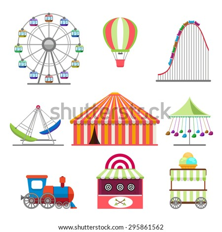 Amusement park icons set in flat design style