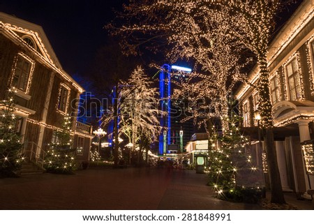 Amusement Park Liseberg with christmas decorations at night #281848991