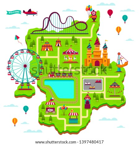Amusement park map. Scheme elements attractions festival amuse funfair leisure family fairground kid games cartoon park map