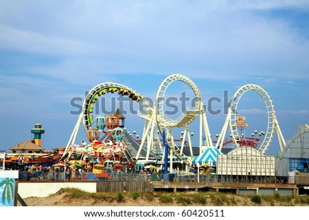 Amusement park rides with copy space