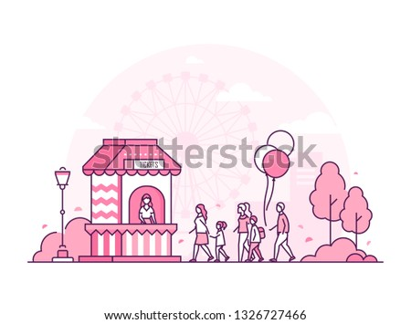 Amusement park - thin line design style illustration on white background. Pink colored image with a ticket office, people standing in a line to go to the attractions, big wheel. Leisure concept