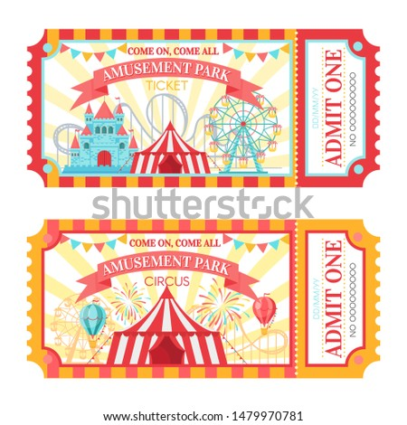 Amusement park ticket. Admit one circus admission tickets, family park attractions festival and amusing fairground. Amusing fair or circus carnival show ticket  illustration set