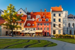 Amusing bright old-fashioned houses in the city square in Old Town of Riga, Latvia