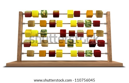 An abacus with stylized cubes of whole fruits as the counters