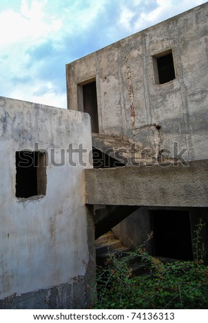 An abandoned and unfinished holiday resort on the greek isle of crete.