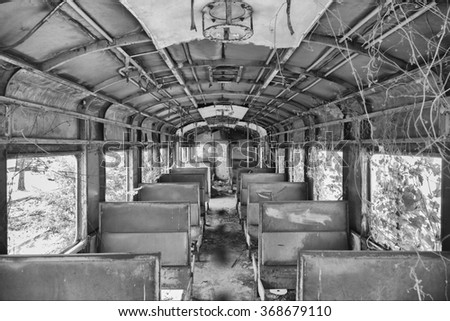 an abandoned  decaying train in ...