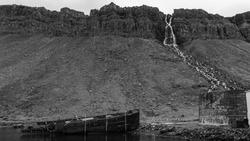 An abandoned fishing vessel in Djúpavík, Strandir region in Northwest Iceland.