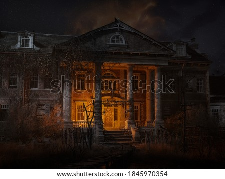 An abandoned haunted house at night, with crowns, skulls, bones, and magical symbols. 3D Illustration.  Foto d'archivio ©