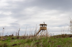 An abandoned IDF watchtower stands in the Golan Heights in northern Israel