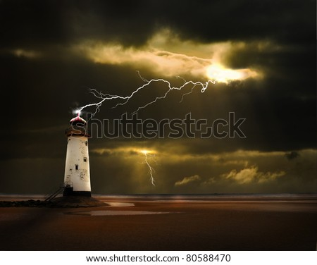 an abandoned lighthouse on the welsh coast is struck by a lightning bolt during an electrical storm at sea