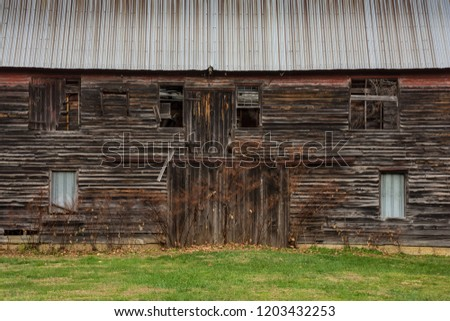 An abandoned old barn is historic Smithville Village in Burlington County New Jersey.