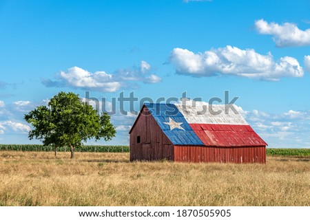 An abandoned old barn with the symbol of Texas painted on the roof sits in a rural area of the state, framed by farmland. ストックフォト ©