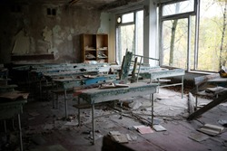 An abandoned school class in a destroyed school in the city of Pripyat in a 30-kilometer exclusion zone after the disaster at the Chernobyl nuclear power plant.