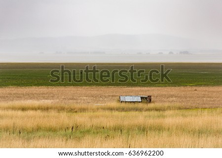 an abandoned tin barn in the...