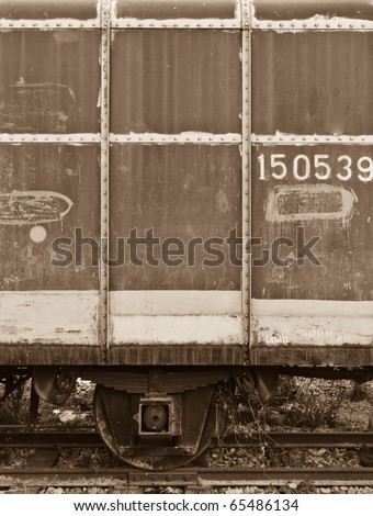 An abandoned train's bogie in the evening