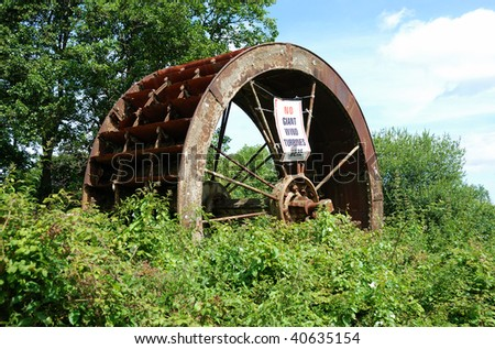 An abandoned water wheel in Silton, Dorset, near the site of a proposed Wid Farm.