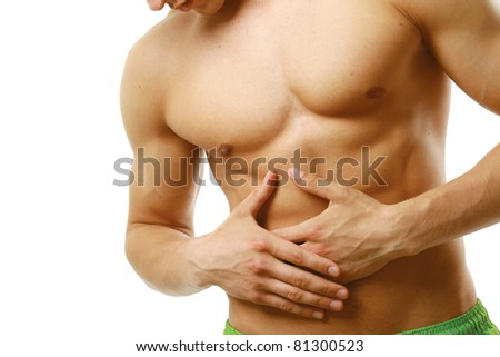 An abdominal pain isolated on white background
