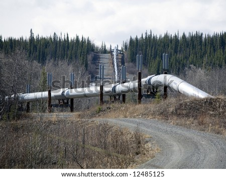 An above ground section of an oil pipeline.
