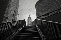 An abstract black and white landscape photograph of downtown Chicago.