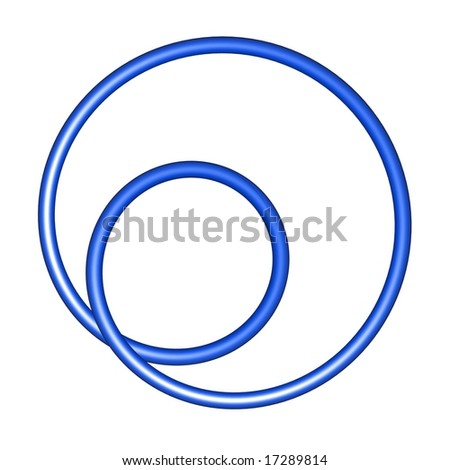An abstract blue shape on a white background