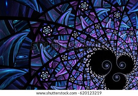An abstract computer generated modern fractal design on dark background. Abstract fractal color texture. Digital art. Abstract fractal element pattern for your design. Spiral mosaic fractal pattern