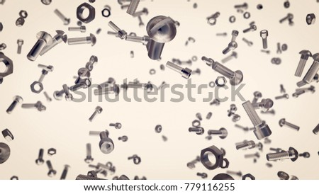 An abstract 3d rendering of flying bolts, nuts, screws in the light grey background. They swirl and spin reminding us about daily home chores of our humdrum and mundane life.