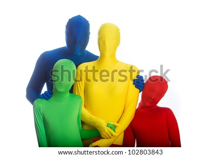 An abstract family of four wearing bright, colorful body suits.  Primary colors of red, blue, green and yellow.