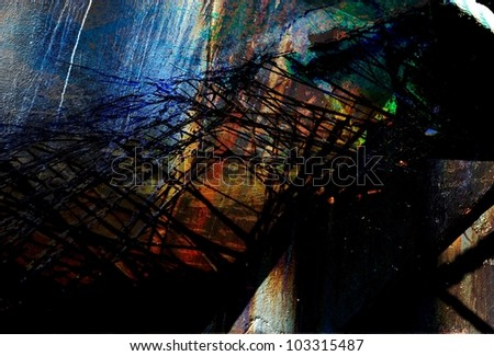 An abstract from blending photos of industrial textures including metal and shattered glass.