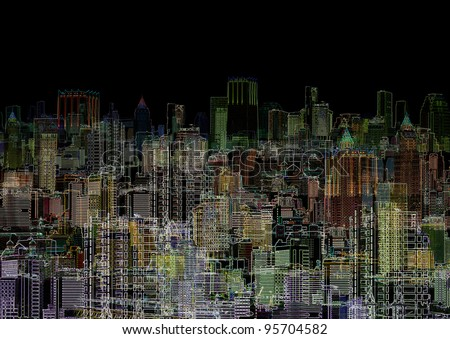 An abstract graphic composition - a night metropolis