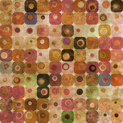 An abstract grungy image of squares with nested circles in warm tones