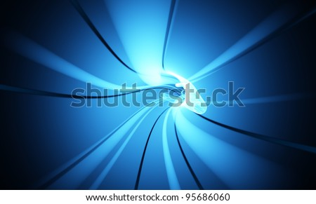 An abstract hi tech blue wormhole.