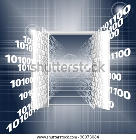 An abstract illustration of a binary code coming out from a door / Open door