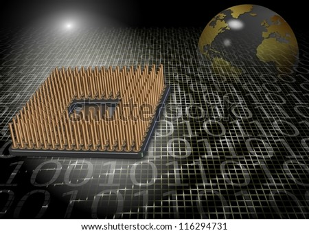 An abstract illustration of a microprocessor and earth globe / Microprocessor technology