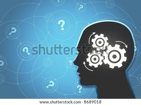 An abstract illustration of a silhouetted head thinking hard trying to answer questions.