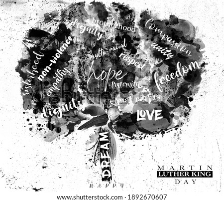 An abstract illustration of a typographic tree in black and white for Martin Luther King Day Сток-фото ©