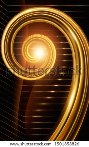 An abstract image in warm golden tones of a fibonacci or nautilus shell spiral; This image is suggestive of classical, symphonic, or orchestral music, as it resembles a harp or violin scroll.