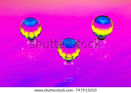 An abstract installation with three crystal spheres #747915010