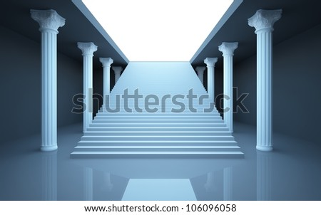 An abstract interior columned hall with stairs to the roof.