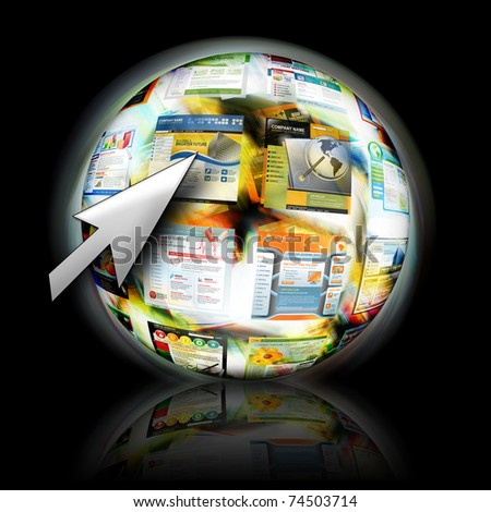 An abstract internet ball with websites spinning for speed. There is an arrow pointing for a search concept.