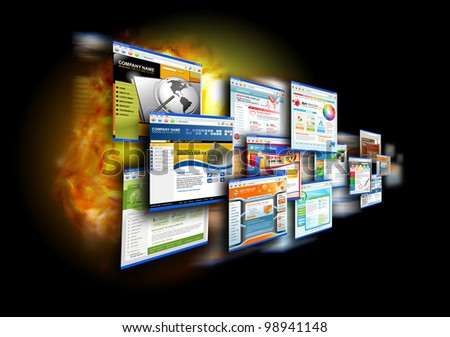 An abstract internet gallery with different website templates on it. There is a fire flame glow in the black background for a speed effect. Use it for a technology design concept.