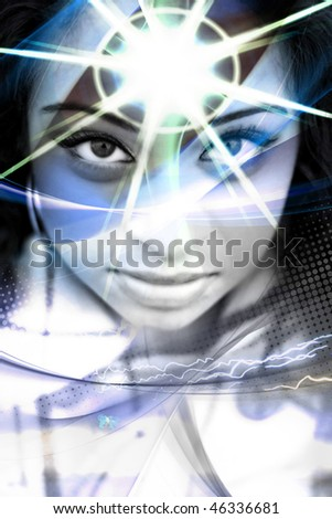 An abstract montage of a beautiful  woman with a star burst coming from her forehead.