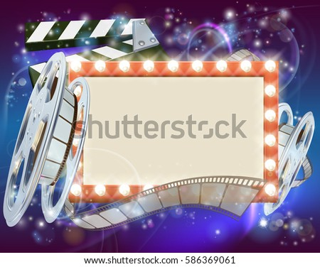 An abstract movie cinema film sign with light bulbs sign clapperboard and film reel