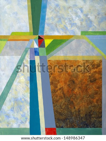 an abstract painting; grunge background overlaid with geometric structure