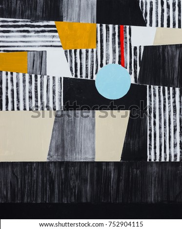 An abstract painting; mostly black, white and yellow, roughly executed.