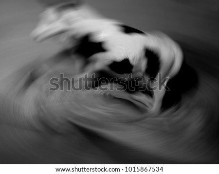 An Abstract Photo of a Blurred Cow Attempting to Jump Out of the Vortex of a Tornado, on a Black and White Background