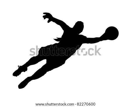 An abstract raster illustration of a (female) goalie during the save of a shot.